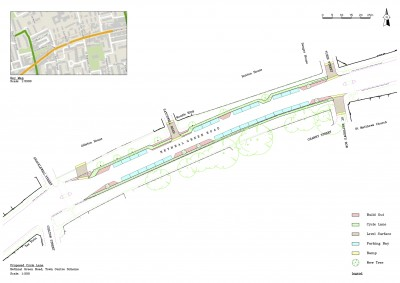 """Cycle facility"" at Bethnal Green Road west"