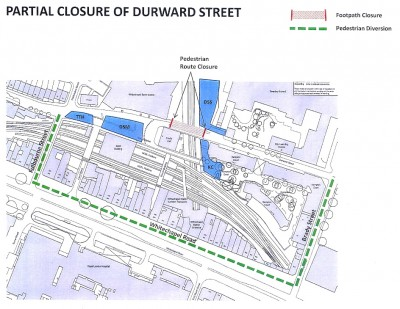 Partial closure of Durward Street