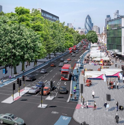 Visualisation of proposed cycle tracks on Whitechapel High Street