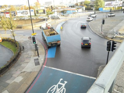Eastbound view of Bow roundabout cycle lane